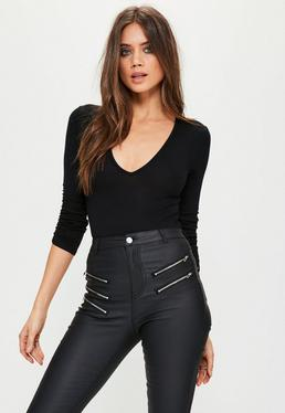 Black Ruched 3/4 Sleeve Bodysuit