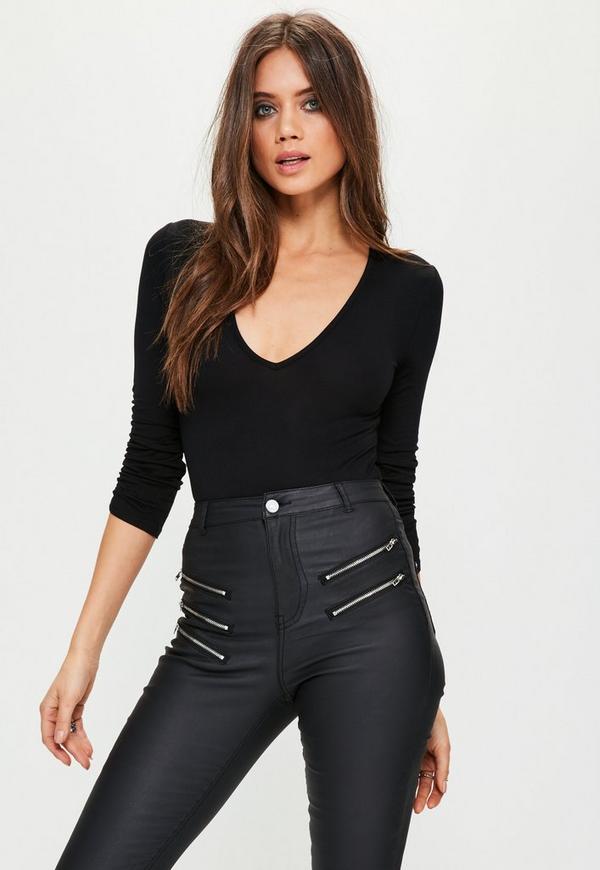 Black Ruched 3/4 Sleeve Bodysuit