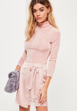 Pink High Neck Slinky Bodysuit