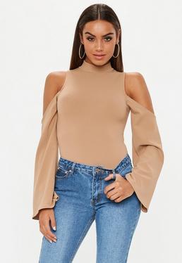 Nude Cold Shoulder Split Sleeve Bodysuit