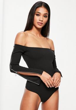 Black Bardot Zipped Sleeve Bodysuit