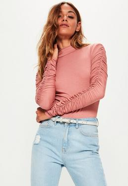 Pink Ruched Arm Long Sleeve Bodysuit