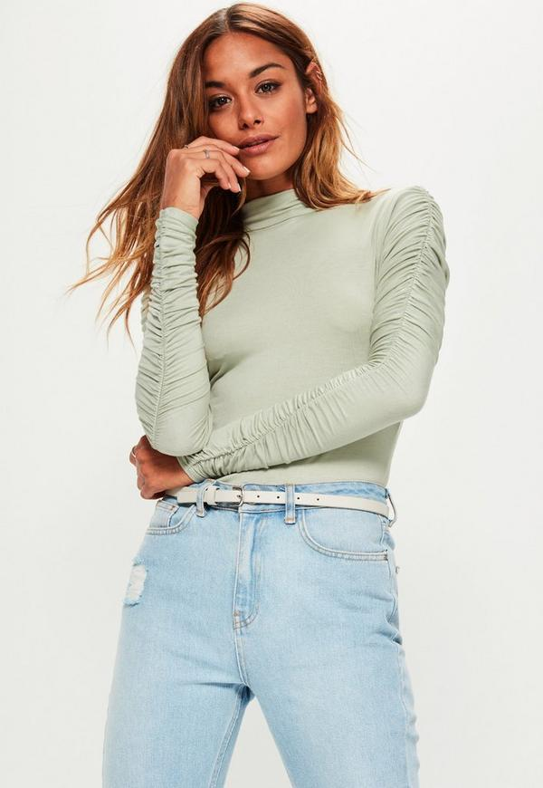 Green Ruched Arm Long Sleeve Bodysuit