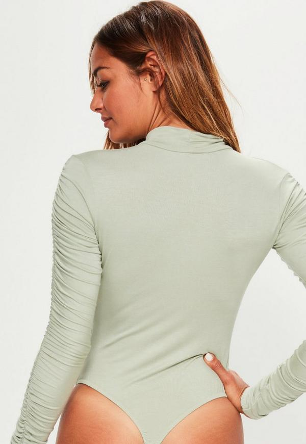 15197a8c3bfd5 Green Ruched Arm Long Sleeve Bodysuit | Missguided