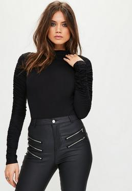 Black Ruched Arm Long Sleeve Bodysuit
