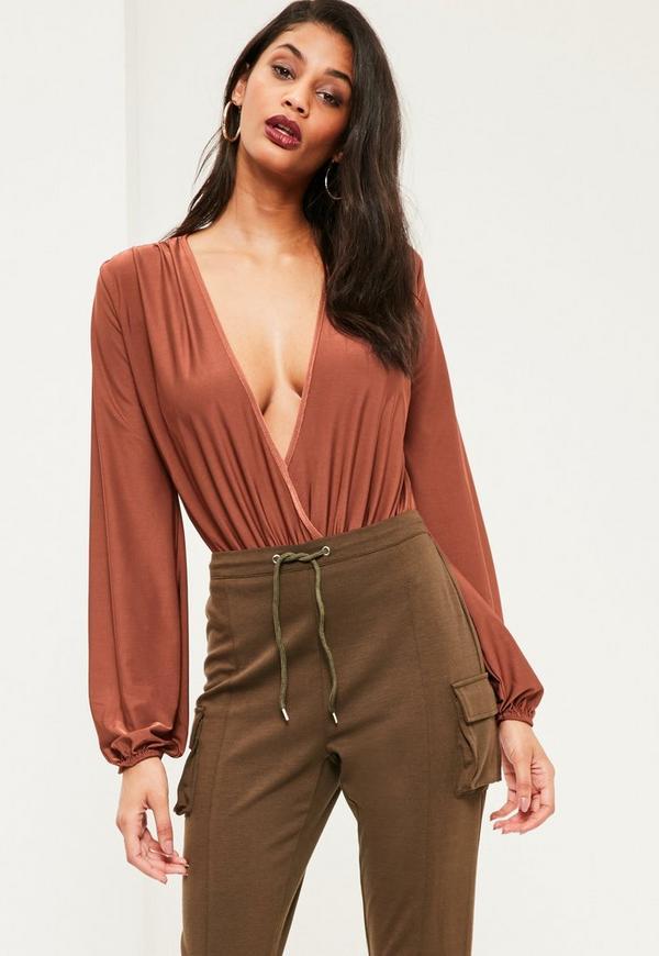 Brown Blouson Sleeve Wrap Front Bodysuit