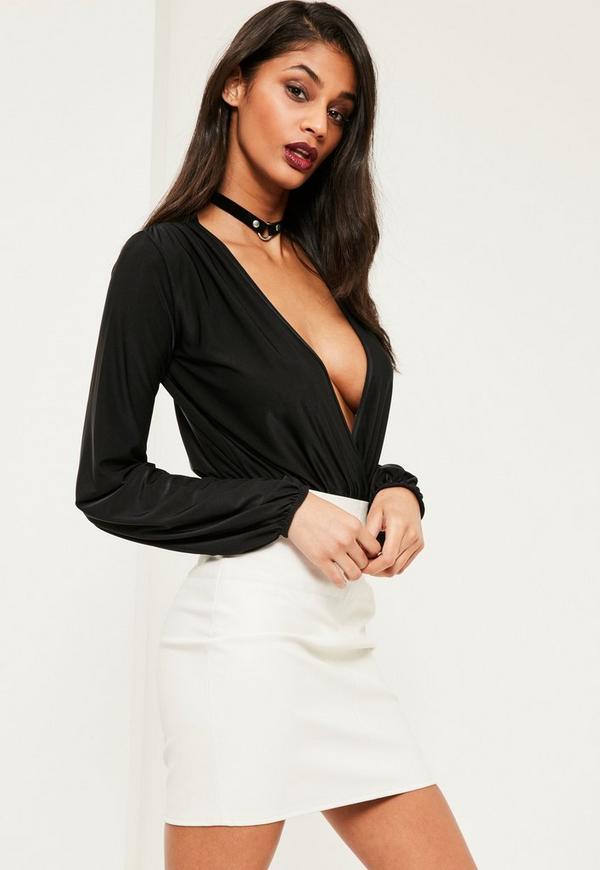 Black Blouson Sleeve Wrap Front Bodysuit