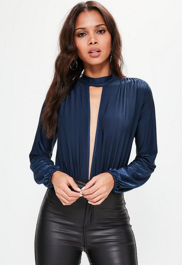 Blue Pleated Cut Out Front Long Sleeve Bodysuit