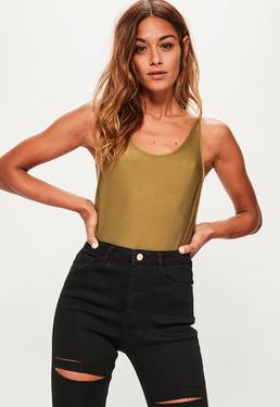 Khaki Sheen Ribbed Scoop Back Bodysuit
