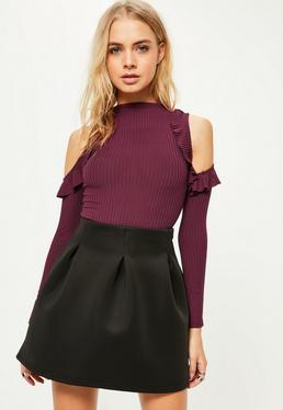 Burgundy Frill Cold Shoulder High Neck Bodysuit