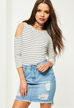 White Striped Cold Shoulder Bodysuit