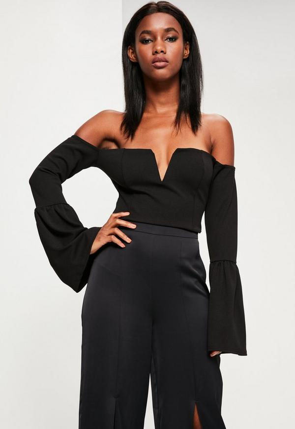 Black V Bar Bell Sleeve Crop Top