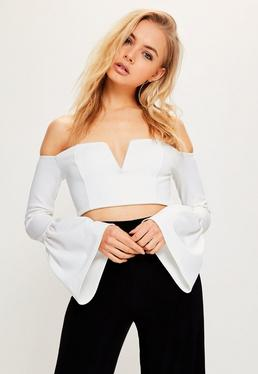 White V Bar Bell Sleeve Crop Top