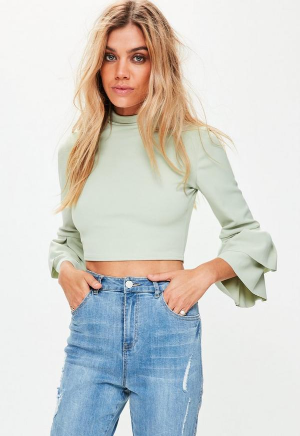 Green Frill Sleeve High Neck Crop Top