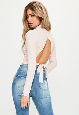 Nude Tie Back Rib High Neck Crop Top