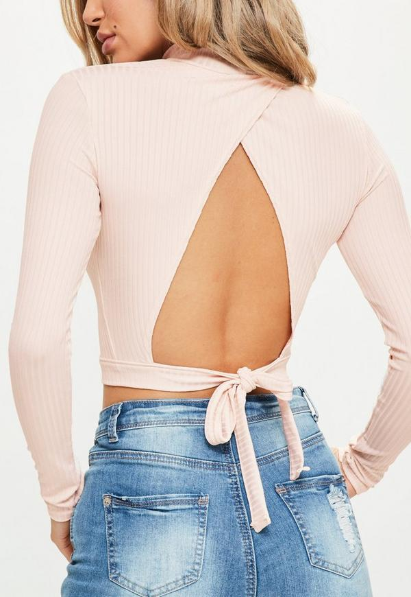 9ca44a4e4cae5b ... Nude Tie Back Rib High Neck Crop Top. Previous Next
