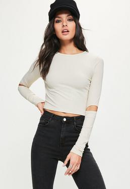 Nude Ribbed Cut Out Sleeve Crop Top