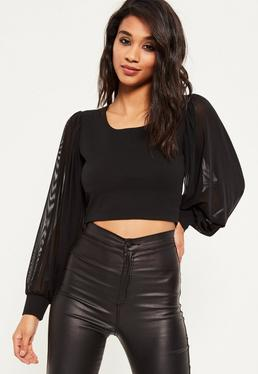 Black Long Sleeve Mesh Cropped Blouse