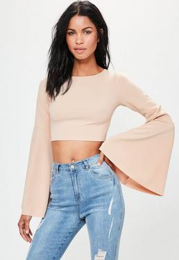 Nude Extreme Flared Sleeve Crop Top