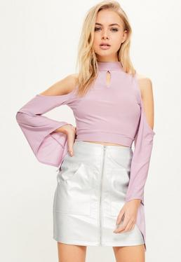 Purple Cold Shoulder Wide Sleeve Crop Top