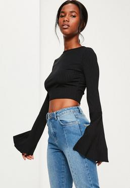Black Ribbed Flared Sleeve Crop Top