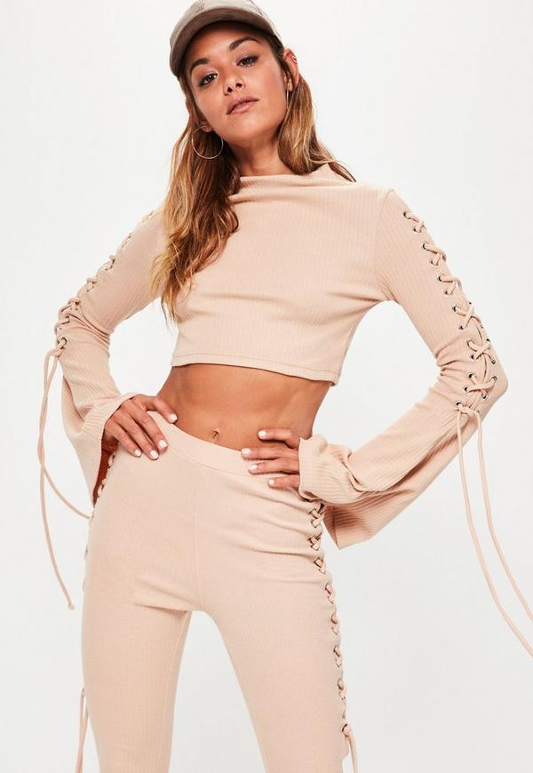 Nude Lace Up Flare Sleeve Ribbed Crop Top
