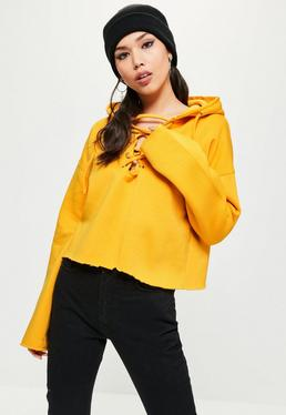 Yellow Crop Raw Hem Lace Up Hoodie