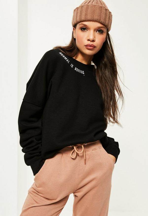 Black Normal Is Boring Embroidered Sweatshirt