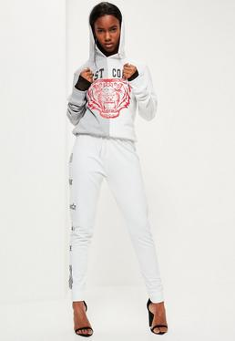 Grey East Coast Tiger Slogan Spliced Hoodie