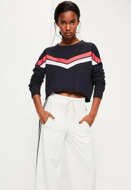 Navy Chevron Print Cropped Sweatshirt