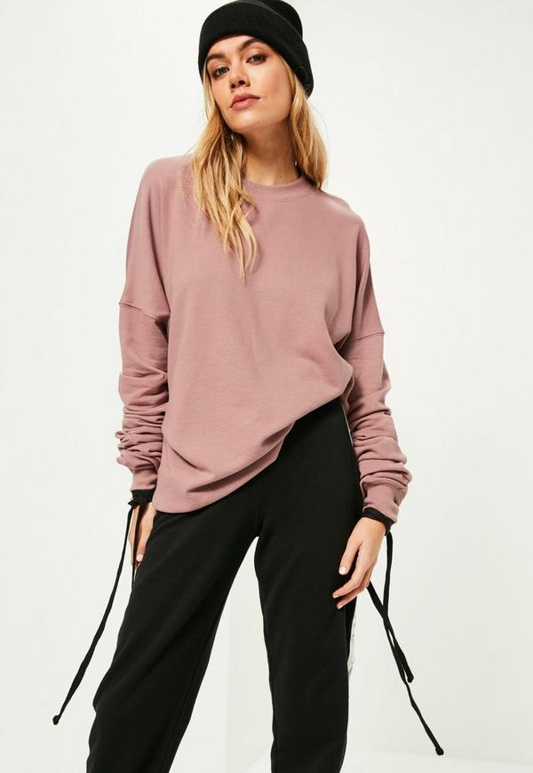 Purple Extreme Ruched Sleeve Detail Sweatshirt