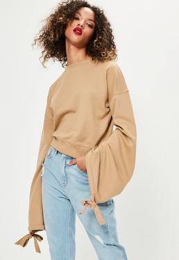 Camel Tie Detail Blouson Sleeve Sweatshirt