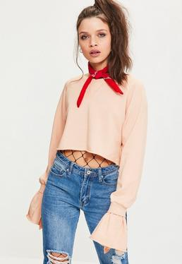 Pink Double Frill Cuff Cropped Sweatshirt
