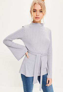 Grey Tie Detail Ribbed Top