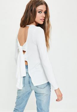 White Double Tie Back Long Sleeve Tunic Top