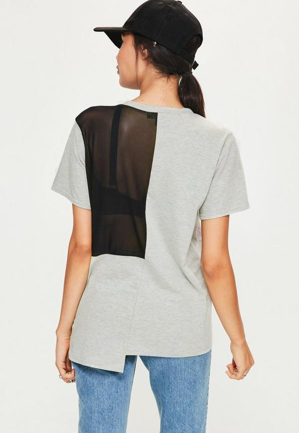 Grey Oversized Spliced Mesh T Shirt Missguided