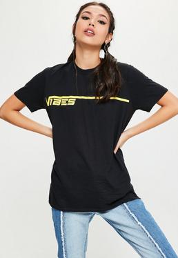 Black Vibes Slogan Oversized T-Shirt