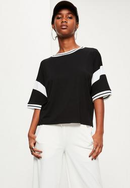 Black Oversized Ribbed Contrast Detail T-Shirt