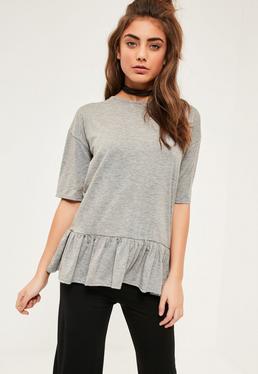 Grey Peplum Frill T Shirt