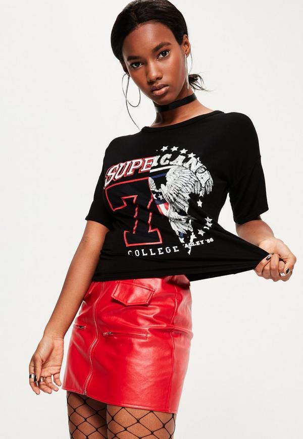 Black Spliced College Printed T-Shirt