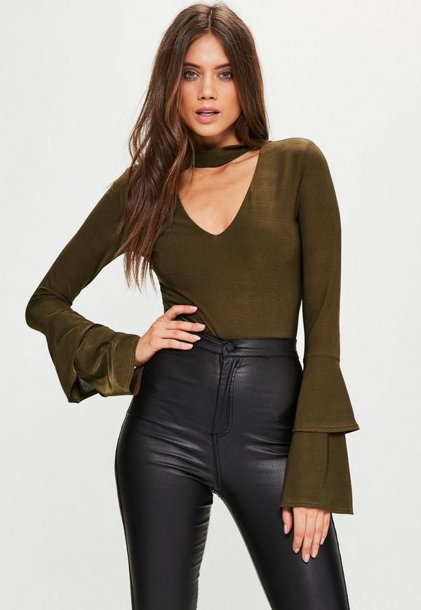 Khaki Choker Neck Double Flared Sleeve Bodysuit