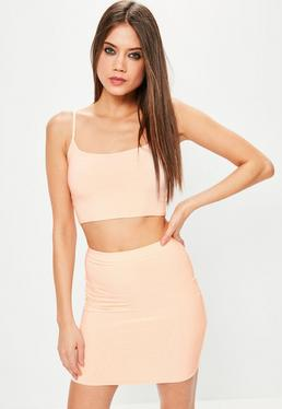 Nude Slinky Cami Crop Top