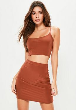 Orange Slinky Cami Crop Top