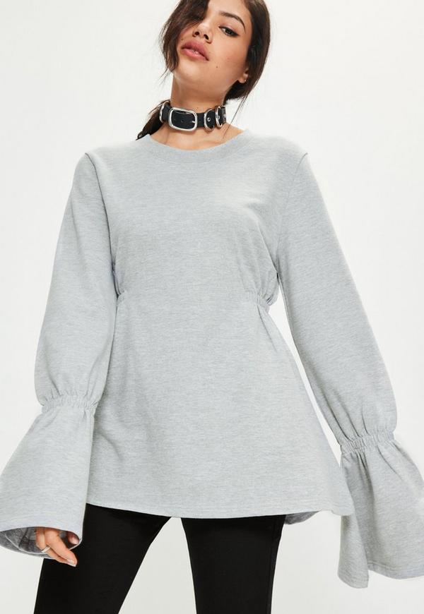 Grey Gathered Waist Flare Sleeve Sweatshirt