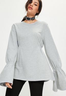 Szara bluza z szerokimi ściąganymi rękawami