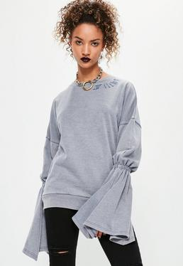 Grey Embroidered Flared Sleeve Sweatshirt