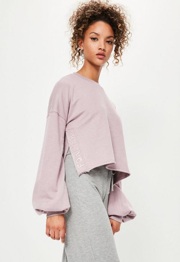 Purple Embroidered Side Split Washed Sweatshirt