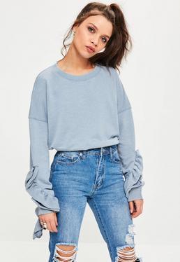Blue Exaggerated Frill Sleeve Sweatshirt