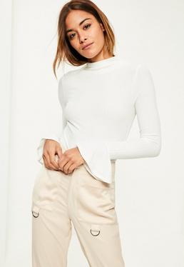 White High Neck Ribbed Flare Sleeve Bodysuit