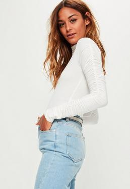 White Ruched Arm Long Sleeve Bodysuit